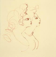 Two faces - Original Lithograph on Cardboard by Leonor Fini - 1970