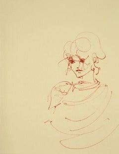 Woman's Portrait - Original Lithograph on Cardboard by Leonor Fini - 1970