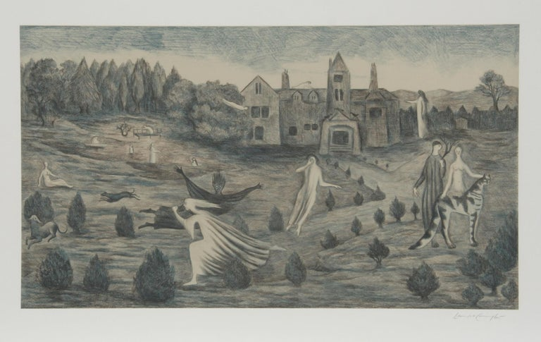 Artist: Leonora Carrington, Mexican/British (1917 - 2011) Title: Crookhey Hall Year:1987 Medium:Lithograph, signed and numbered in pencil Edition: 150 Image: 17 x 30 inches Size:24 x 36 in. (60.96 x 91.44 cm)