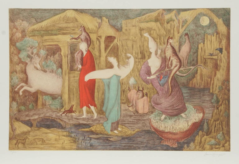 Limited edition lithograph by British-born Mexican artist Leonora Carrington. Carrington played a major role in the Surrealist movement of the 1930s and was a founding member of the women's liberation movement in Mexico during the 1970s.  Artist:
