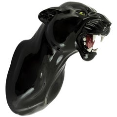 Leopard Black Wall Sculpture in Ceramic