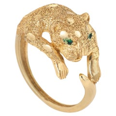 Leopard Cat Ring Vintage 14 Karat Yellow Gold Estate Fine Animal Jewelry