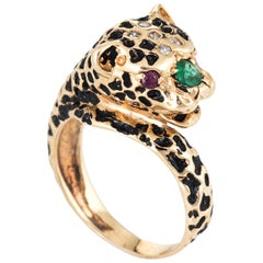 Leopard Cat Ring Vintage 14 Karat Yellow Gold Ruby Eyes Enamel Emerald Diamond