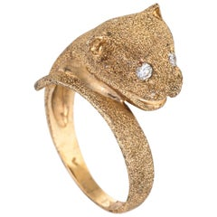 Leopard Cat Ring Vintage 14 Karat Yellow Gold Diamond Eyes Fine Estate Jewelry