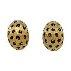 Leopard Fred Earrings, Yellow Gold and Black Enamel Spots