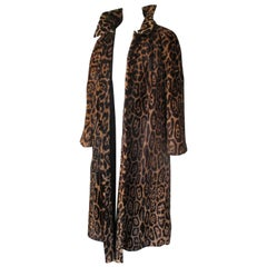 Leopard Pony Hair Fur Long Coat Reversible