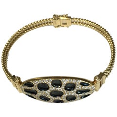 Leopard Print Design Bracelet Diamonds Black Enamel 18 Karat Yellow Gold