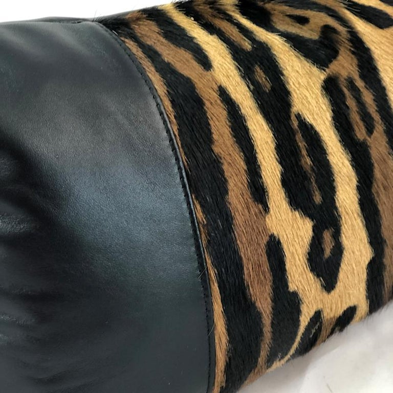 Hollywood Regency Leopard Print Lumbar Pillow with Black Leather For Sale