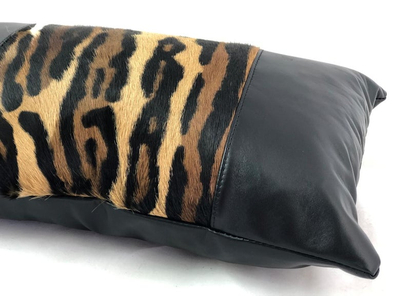 Australian Leopard Print Lumbar Pillow with Black Leather For Sale