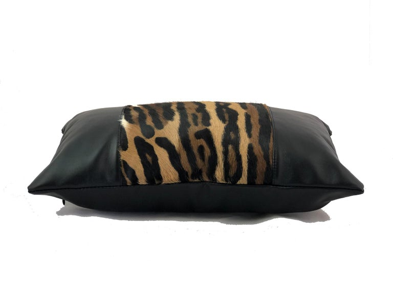 Hand-Crafted Leopard Print Lumbar Pillow with Black Leather For Sale