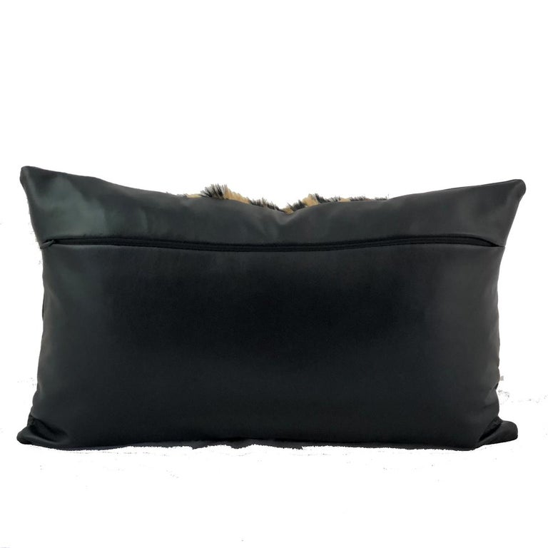 Leopard Print Lumbar Pillow with Black Leather In New Condition For Sale In Dural, AU