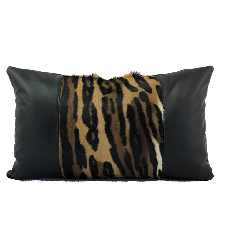 Leopard Print Lumbar Pillow with Black Leather For Sale