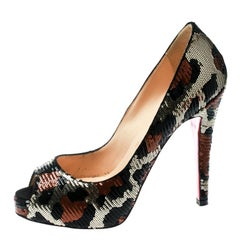 Leopard Print Sequin Paillettes Very Prive Peep Toe Pumps Size 36.5