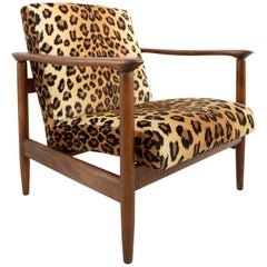 Leopard Print Velvet Armchair, Light Wood, Edmund Homa, GFM-142, 1960s, Poland