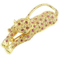 Leopard Ruby Diamond Gold Brooch