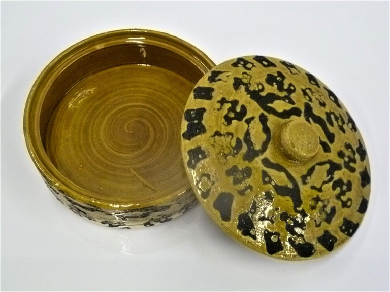 Mid-Century Modern Leopard Spots Modern Rosenthal Netter Pottery Covered Bowl Attributed to Bagni For Sale