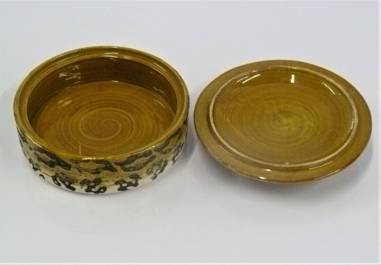 Ceramic Leopard Spots Modern Rosenthal Netter Pottery Covered Bowl Attributed to Bagni For Sale