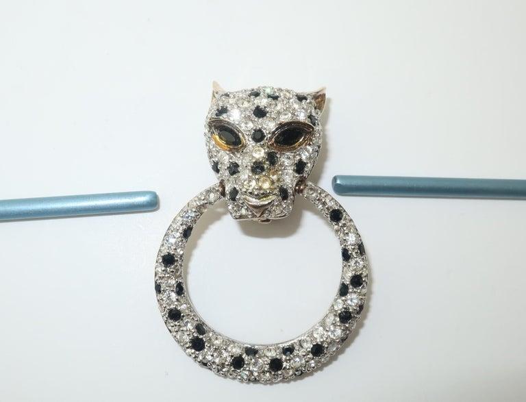 Leopard Sterling Vermeil Rhinestone Door Knocker Earrings, C.1980 5