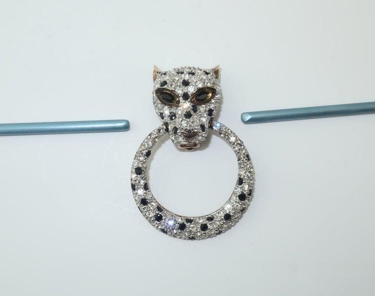 Leopard Sterling Vermeil Rhinestone Door Knocker Earrings, C.1980 6