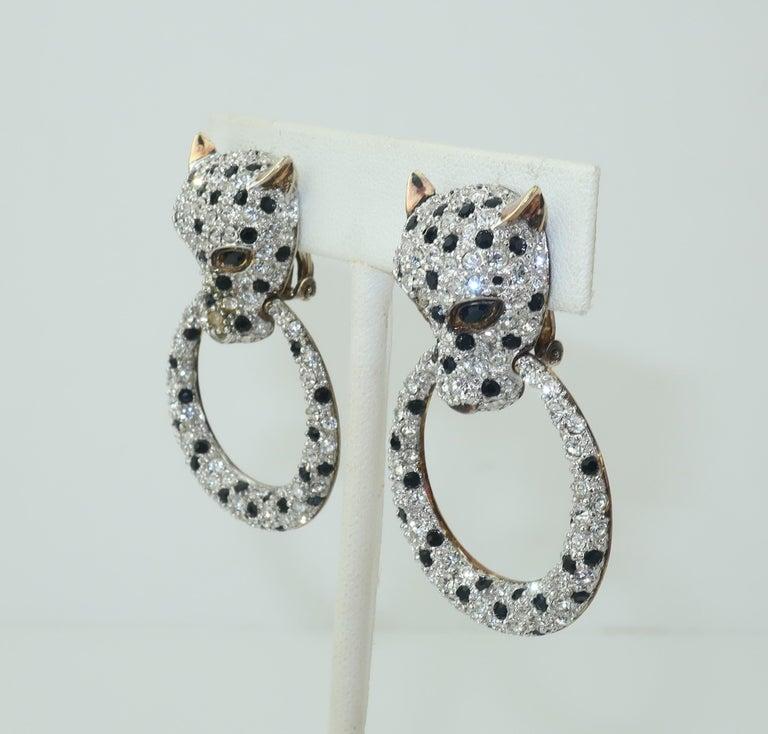 Art Deco Leopard Sterling Vermeil Rhinestone Door Knocker Earrings, C.1980