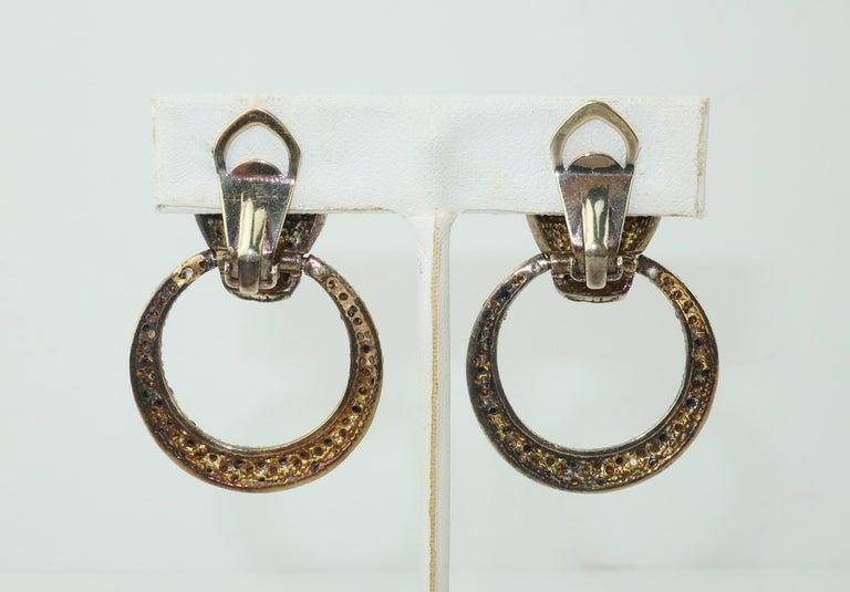 Leopard Sterling Vermeil Rhinestone Door Knocker Earrings, C.1980 In Good Condition In Atlanta, GA