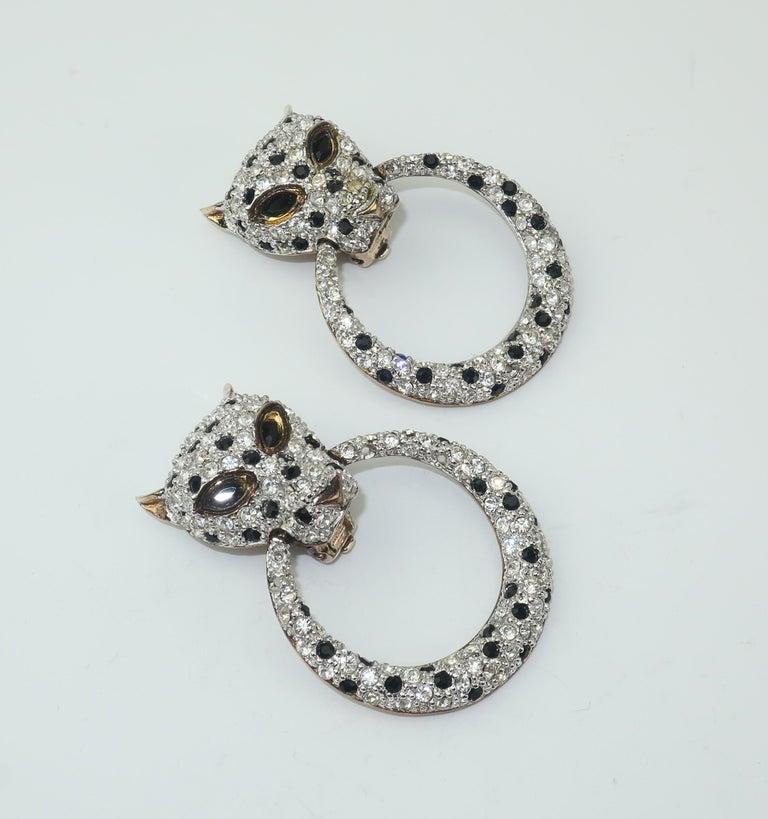 Women's or Men's Leopard Sterling Vermeil Rhinestone Door Knocker Earrings, C.1980