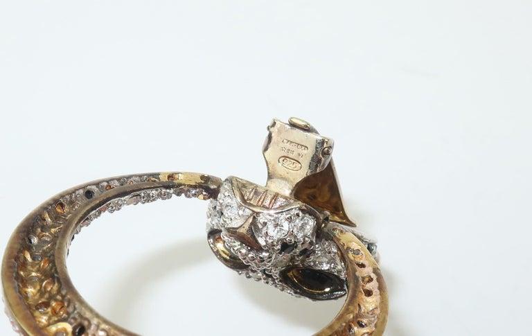 Leopard Sterling Vermeil Rhinestone Door Knocker Earrings, C.1980 2
