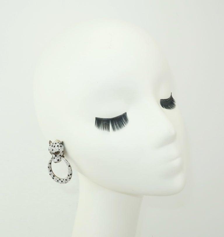 Leopard Sterling Vermeil Rhinestone Door Knocker Earrings, C.1980 3
