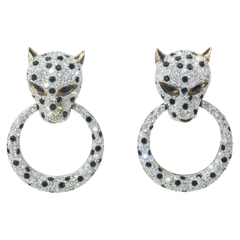 Leopard Sterling Vermeil Rhinestone Door Knocker Earrings, C.1980