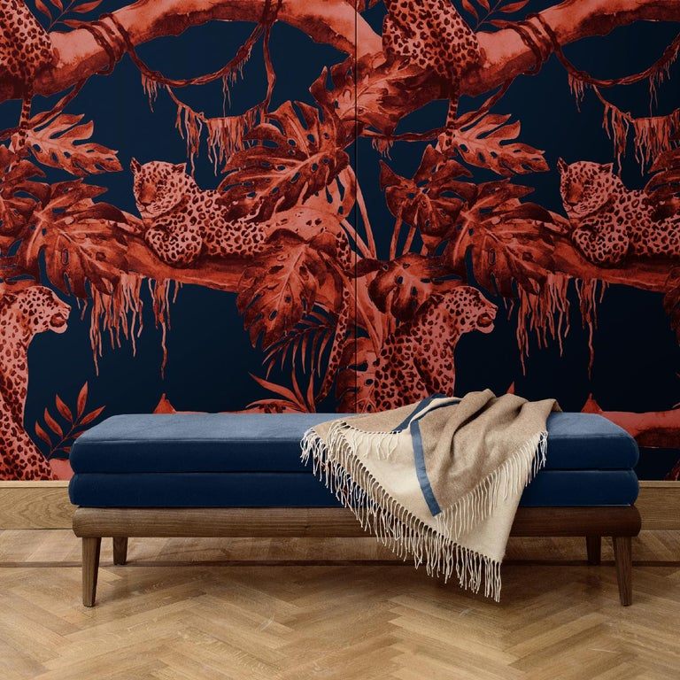 Creating a dramatic effect on any wall, this covering will imbue a Classic or contemporary interior with a sophisticated and unique ambiance. Its dark blue background is adorned with an exotic scene in which a leopard sits under the shade of a tree.