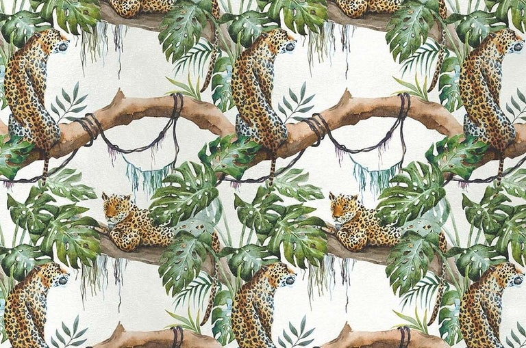 Magnificently rendered using naturalistic tones over a white background, this exotic scene depicts two leopards enjoying the shade of a large jungle tree. The repetition creates a pattern that is dynamic and elegant. Crafted of silk and cotton, this