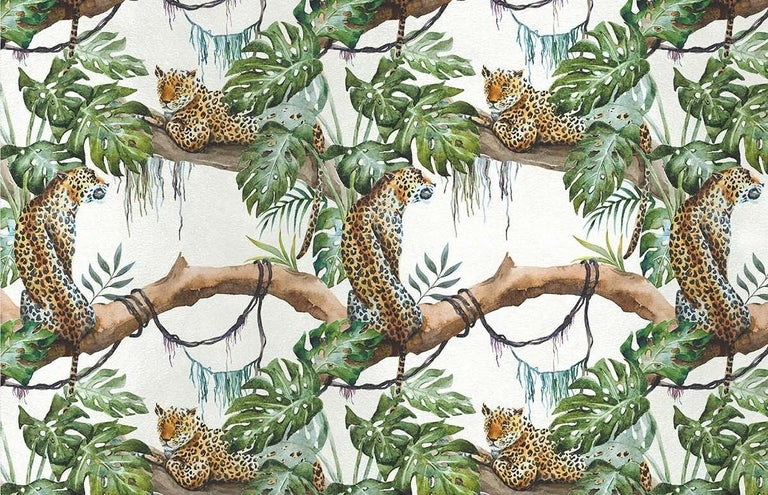 Italian Leopards on Tree White Panel For Sale