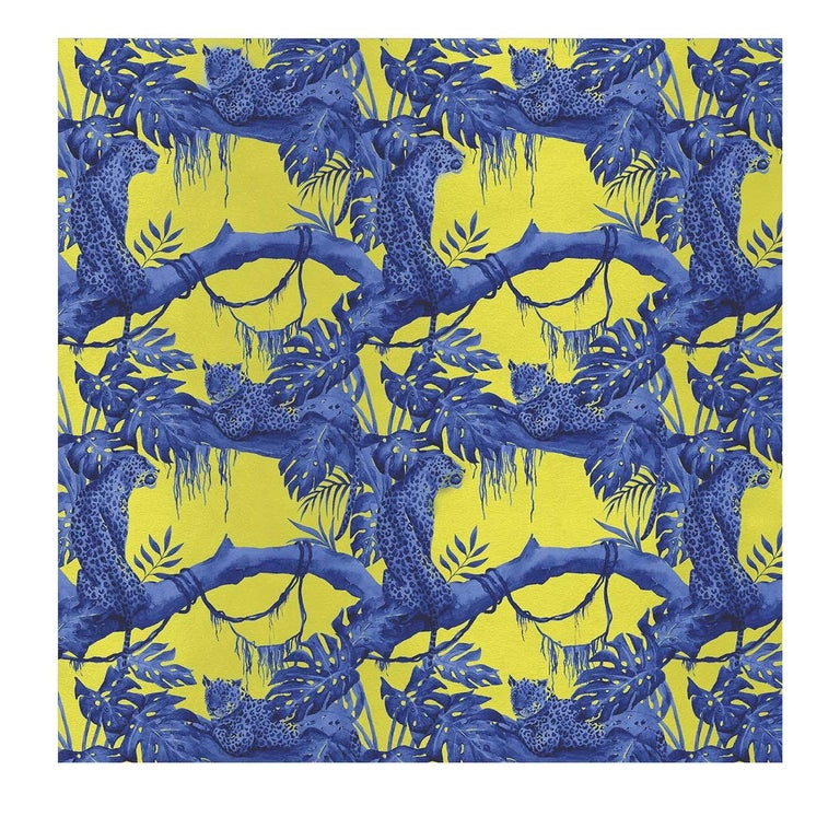 Modern Leopards on Tree Yellow Panel For Sale