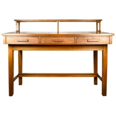 Leopold Desk Company Quartersawn Oak Desk with Shelf