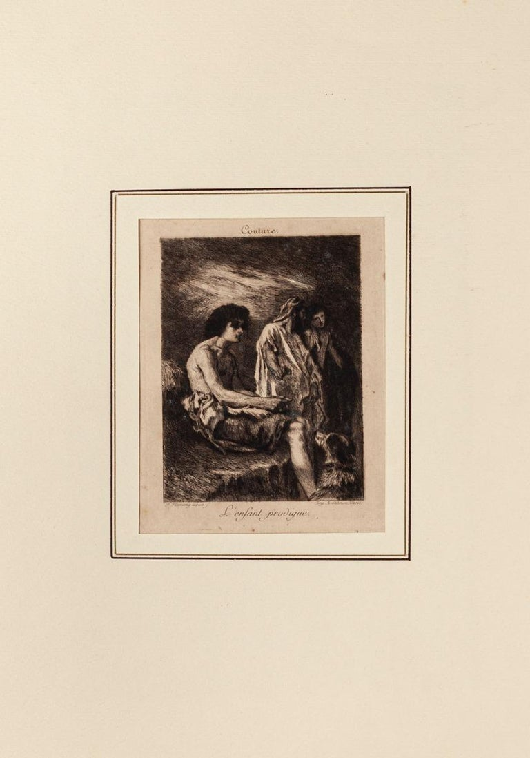 Child Prodigy - Original Etching by Léopold Flameng - Early 20th Century For Sale 1