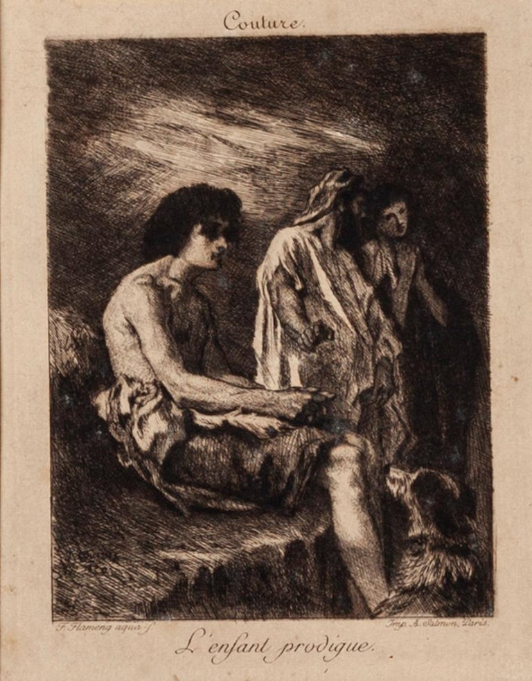 Child prodigy is an original etching on paper, realized by Léopold Flameng.   The state of preservation of the artwork is good except for diffused stains.  Sheet dimension: 26 x 17.5 cm.  Pasepartout included: 35 x 24.5  The artwork presents the boy