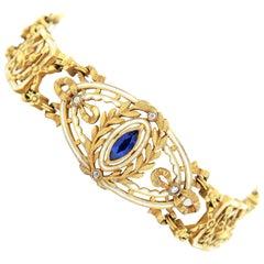 Leopold Gautrait Sapphire, White Enamel and Gold Bracelet, 1900s