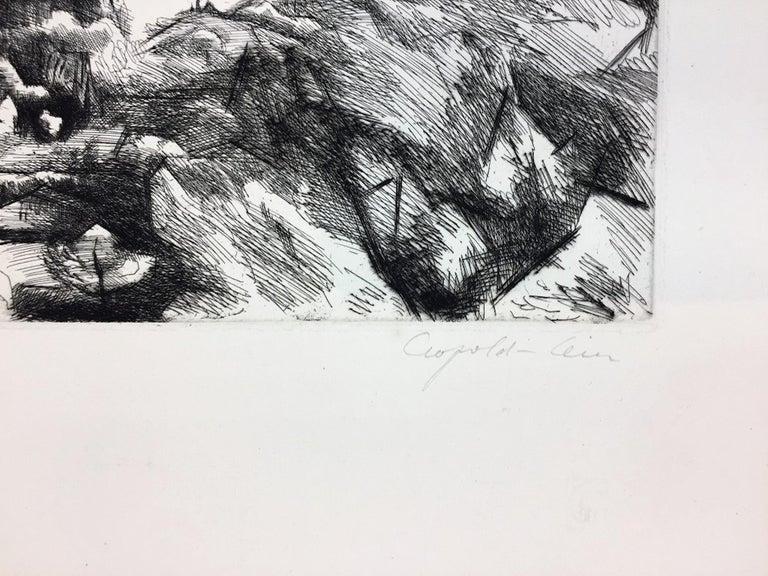 Landscape - Original Etching by Léopold Lévy - XX Century For Sale 1