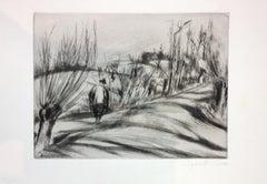 Landscape - Original Etching by Léopold Lévy - XX Century