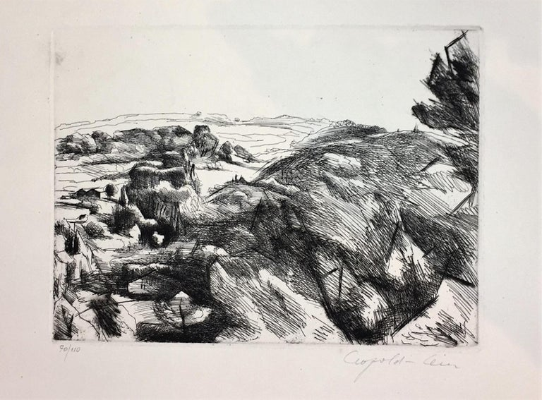 Landscape is an original artwork realized by the French artist Léopold Lévy (1882-1966) in the first half of the XX century. Etching and drypoint on paper.  Edition of 110 prints. Hand-signed by the artist on the lower right corner; numbered on the