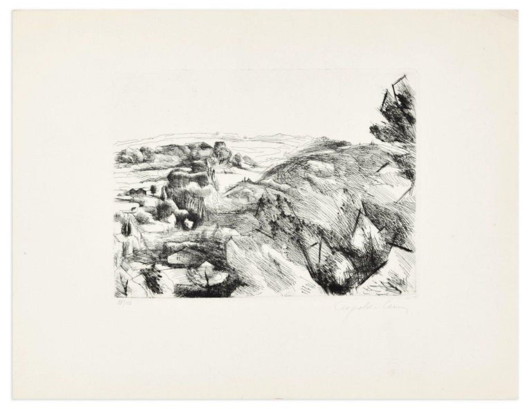 Image dimensions: 15 x 19.5 cm.  Natural Landscape is an original artwork realized by Léopold Lévy in the first decades of the XX Century.   Original Etching on paper.   Hand-signed in pencil on the lower right corner; numbered on the lower left