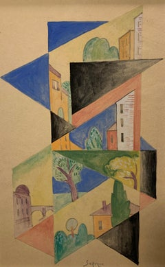 """Composition of architectures and geometries"" cm 33 x 52 Cubist, Geometries, 15"