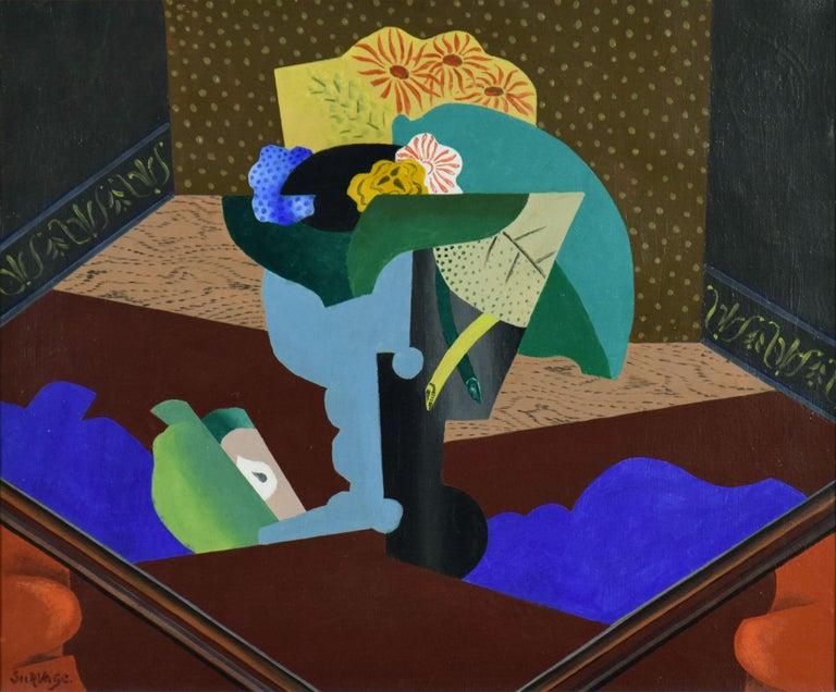 Nature Morte aux Fleurs by Leopold Survage - Cubist still life painting - Painting by Léopold Survage