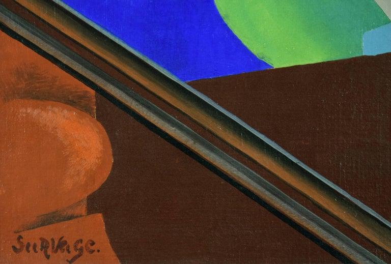 Nature Morte aux Fleurs by Leopold Survage - Cubist still life painting - Black Still-Life Painting by Léopold Survage