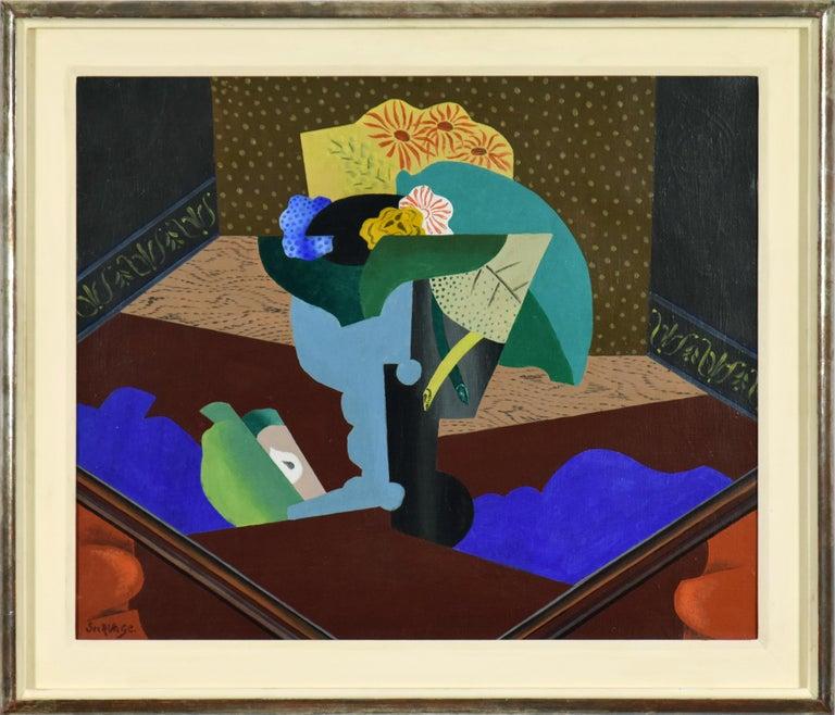 Léopold Survage Still-Life Painting - Nature Morte aux Fleurs by Leopold Survage - Cubist still life painting