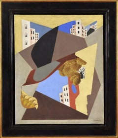 Ville by LÉOPOLD SURVAGE - art, colourful cubist oil painting by Modern master