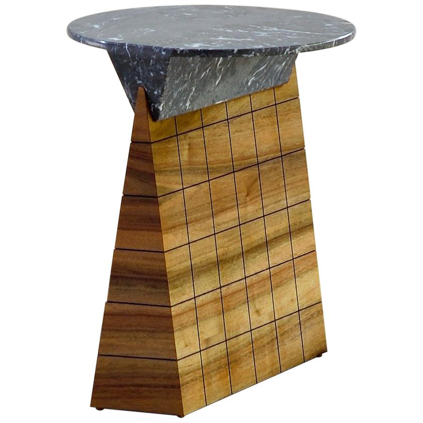 Leopoldine Walnut and Marble Side Table by Kaaron
