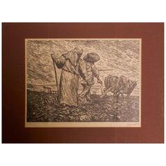 Leopoldo Méndez Print, Revolutionary Art, Mexico Farmers