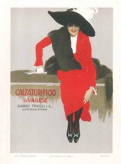 Calzaturificio di  Varese - Vintage Adv Lithograph by L. Metlicovitz - 1914