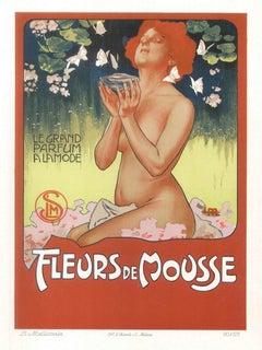 Fleurs de Mousse - Vintage Adv Lithograph by L. Metlicovitz - 1898